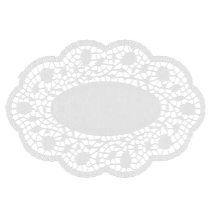 Mokkadeckchen oval 22 x 15 cm weiss - Bild 1